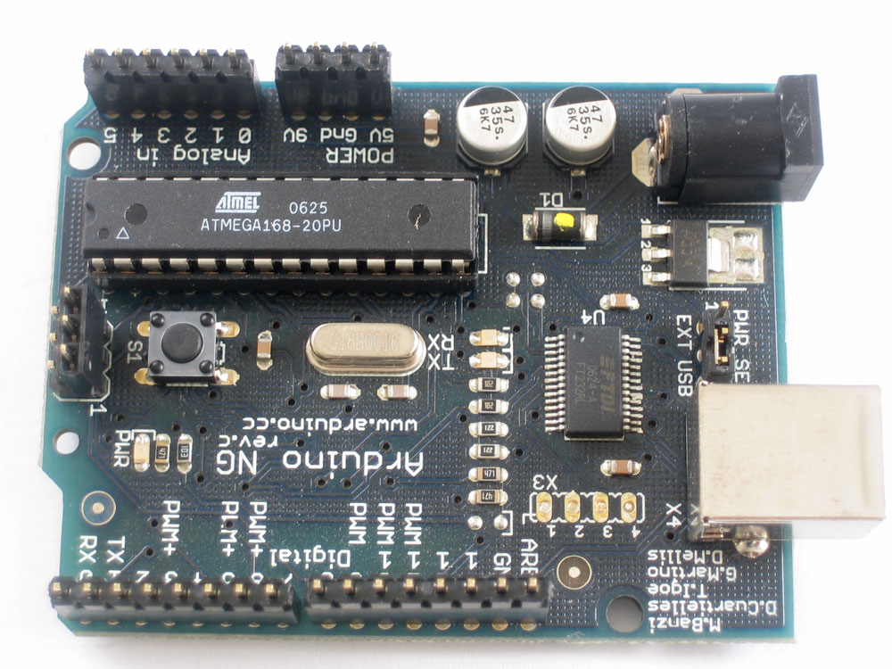 If you're using a Diecimila Arduino, place the 6 and 8 pin headers into the female sockes.