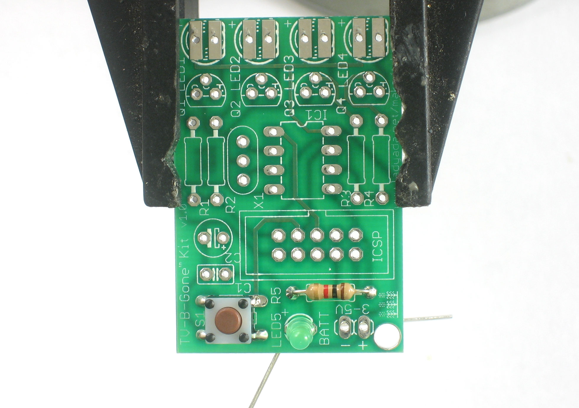 Tv B Gone Kit Diy Universal Remote Printed Circuit Board Of Transistors Capacitors And Other Components