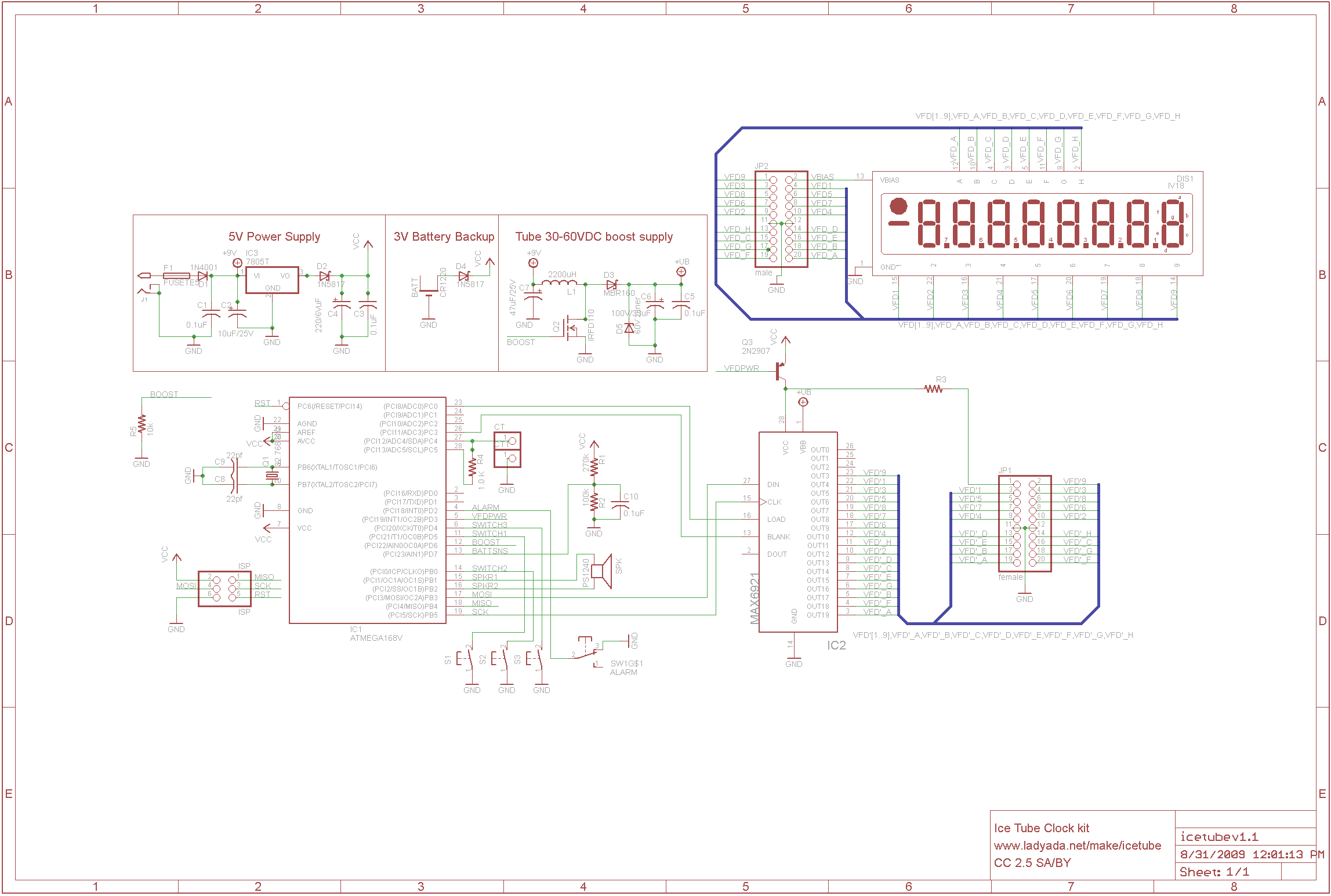 Icetube Clock Nixie Circuit Diagrams The Schematic Can Be Found Here Whereas Purchased By Adafruits Online Store