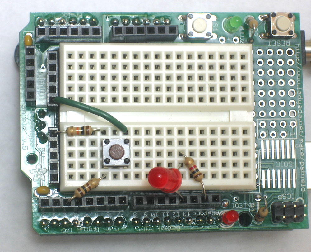 Arduino Tutorial Lesson 5 Led Circuit On Breadboard Is